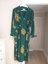 TOAST Beautiful wrap tie dress in dark green with yellow abstract print size 14
