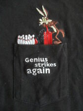 """1998 WILE E. COYOTE """"Genius Strikes Again"""" Embroidered (MED) T-Shirt w/ Pocket"""