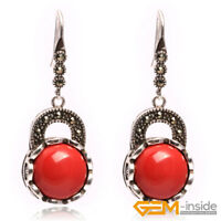 16mm Coin Gemstone Beads Tibetan Silver Marcasite Hook Dangle Earrings Jewelry