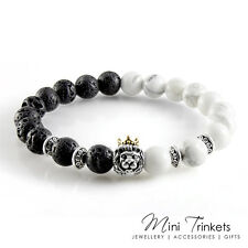 Silver Plated Crowned Lion Howlite & Lava Stone Buddha Bead Yoga Charm Bracelet