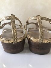 Authentic Chanel Flat Open Toe Slingback Gold Leather Sandals Shoes Size 40 US 9