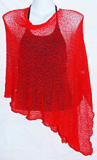 PONCHO ROUGE GILET CACHE COEUR PULL FEMME TAILLE UNIQUE SHRUG RED