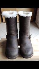 UGG boots 36 37 Kensington Leder Biker Stiefel Winter Braun Echtfell