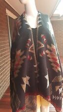 Black with Red & Latte U Shape Triangle Print Poncho Coverup Cape