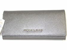 Michael Kors Jet Set Travel Flap Carryall Wallet Nickel Leather New NWT $168