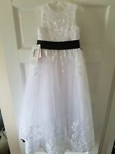 White and Black Flower Girl Dress or Special Occasion Dress - Size 5