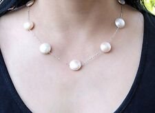 Fine Pale Pink Freshwater Coin Pearl & Sterling Silver Chain Necklace 18''