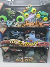 3 Monster Jam Curse Of The Gasoline, Full Moon Frenzy, In Too Deep! Complete Set