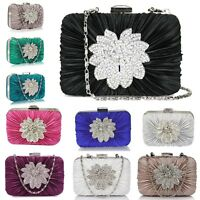Sparkly Clutch Bag Box Women Party Ladies Evening Handbag Brooch Designer New