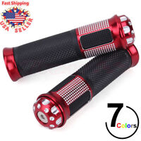 "Red Universal Handlebar Grips Hand Motorcycle Pair 7/8"" CNC W/ End Cap For ATV"