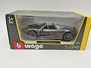 Bburago 1:24 B18-21076 Porsche 918 Spyder Grey Brand New in Box Free Post