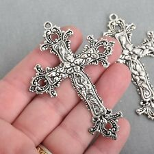 2 Large Silver Cross Pendants Ornate Floral and Flourish Detail 75x55mm chs4211