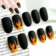Matte Fake Nails Full Cover Press On Fingernail Tips Flame Design Manicure 24pcs