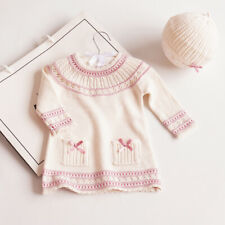 Organic Cotton Knitted Baby Clothes Knit Dress and Hat Fall Baby Girl Clothes