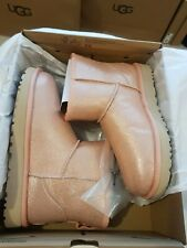 UGG CLASSIC MINI II IRIDESCENT BOOT, UK 5, EU 38, ROSE GOLD, New £155