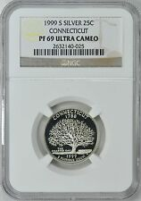 1999-S CONNECTICUT *SILVER* PROOF 25c NGC PF69 ULTRA CAMEO