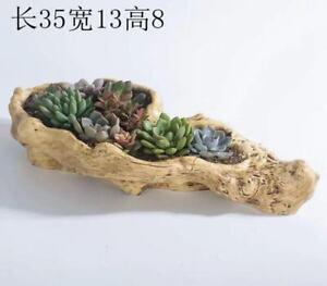 Succulent Plant Big Resin Log Style Arrangement Pot With Drainage Hole