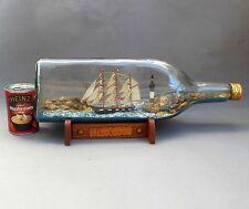 """Large Vintage Ship In A Bottle ~ """"Whitford"""" Folk Art Sailing Ship ~ 50cm / 4.5L"""