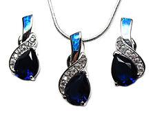 Blue Fire Opal Tanzanite Sterling Silver 18 inch Necklace Earrings Jewelry Set