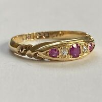 1900 ANTIQUE VICTORIAN 18ct GOLD RUBY & DIAMOND RING