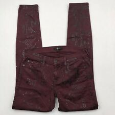 7 For All Man Kind Womens 28 Jeans Maroon Black Snake Print Skinny Fit Y1