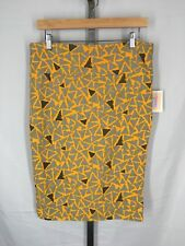 Lularoe Cassie Skirt Size Large Gray Yellow Print Stretch New