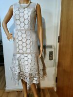 NEW COAST FITTED EMBELLISHED LACE DRESS SIZE UK 10 US 6 WHITE BEIGE 100% POLYEST