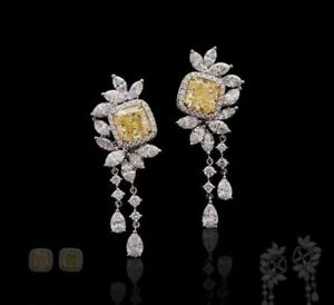 4Ct Cushion Cut Simulnt Yellow Diamond Chandelier Earrings White Gold Fns Silver