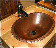 "19"" x 14"" Oval Copper Drop In Self Rimming Vanity Sink with Decorative Edge"