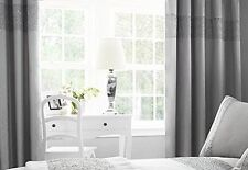 GLITZ SPARKLE FAUX SILK SILVER SEQUINS 66 x 90 READY MADE EYELET LINED CURTAINS