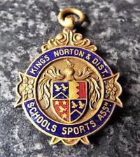 Kings Norton & District Schools Sports Association Vintage 1937 Gilt Fob Medal