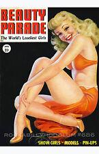 Pin Up Girl Poster 11x17 Beauty Parade magazine cover art April Blonde Burlesque