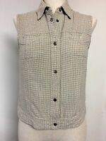 """FASHION BUG COVER SHIRT TOP VEST SNAP FRONT 36""""chest size M Green Tan"""
