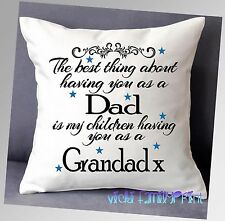 "LOVELY PERSONALISED FATHERS DAY THE BEST THING CUSHION DAD GRANDAD 16""x16"""