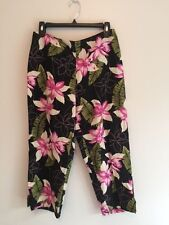 WOMENS TOMMY BAHAMA SILK LINEN PANTS SIZE 6 CROPPED FLORAL BLACK PINK CAPRIS