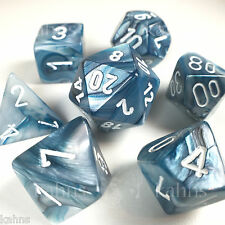 Chessex Dice Poly - Lustrous Slate w/ White - Set of 7 - 27490 Free Bag! DnD