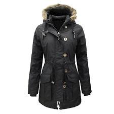 Womens Military Style Parka Coat Ladies Jacket Faux Fur Hood UK 8-16 RRP £49.99