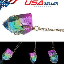 Quality Quartz Pendant Necklace Irregular Rainbow Stone Jewelry Natural Crystal
