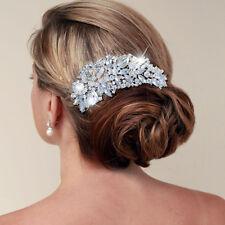 Bridal Flower Hair Comb Tiara Austrian Clear Austrian Crystal Gold Tone -E181