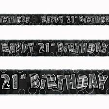 12ft Happy 21st Birthday Black Sparkle Prismatic Party Foil Banner Decoration