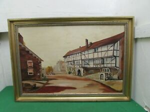 Vintage Impressive Size Oil Painting on Board Depicting Colchester High Street
