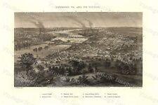 1863 Birdseye View Map civil war Era Richmond Virginia county Historic Map