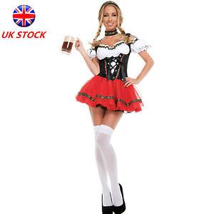 Women's Oktoberfest Beer Maid Costume German Bavarian Dirndl Dress