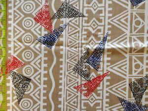 Lot 1336 Fabric, 2 Yards, Tribal Design + Triangles, Looks Like Apparel Cotton