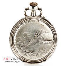 Gousset chronomètre J. Duquesne Nancy métal avion motif pocket watch