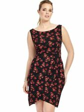 Queen Of Heartz by Letty Tennant Georgia Floral Dress In Black w Red Roses 32W
