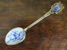 Vintage silver HAND enamelled HOLLAND WINDMILL SPOON  BOXED souvenir NETHERLANDS