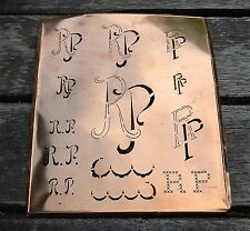 """Monogramm """" RP """" Wäschemonogramm Wäscheschablone Wäschezeichen 11/13 cm KUPFER"""