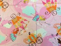 1 Fat Quarter Quilting Cotton Fabric Pink Fairies, Castles & Carriages Princess