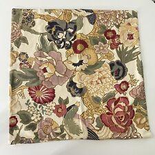 Pottery Barn Linen Cotton Floral Bird Print Square Pillow Cover 24 X 24 -BIN A